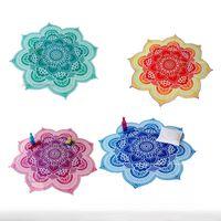 Wholesale 2016 Autumn New Printing And Dyeing National Flower Case Woven Beach Towel Lotus Beach Shawl Beach Mat Yoga Mat B