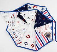 Bon Marché Tissu étamine bannière-Mode chaude 12 drapeaux 3.2m Pirate thème tissu de coton Drapeaux fanion Banner garland mariage / anniversaire / baby shower Party Décoration