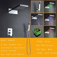 Wholesale 230 mm led shower set with embeded boxes rainfall waterfall shower sets