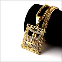 arab jewelry - The Arab Faith Jewelry High Quality K Goldon Plating Allah Rhinestone Pendant Necklace Hipsters Hip Hop For Men Women Bijoux Gold Joyas