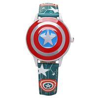 battery shield - Watches Captain America s shield watch spiderman iron man clamshell quartz watch boy children gifts students watch