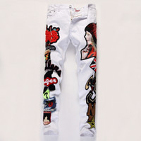 american quality embroidery - High quality fashion printed embroidery jeans Warm personality splicing locomotive jeans in the winter Fashion male crime Jeans