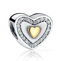 Wholesale Real S925 Sterling Silver Charm Beads Fit Original Pandora Bracelet Pendants DIY Jewelry Princess Heart With Top Grade AAA Zirconia