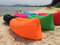 Wholesale 2016 Hangout Fast Inflatable Air Sleep Camping Bed Beach Sofa Lounger Sleeping Bag Lazy Chair