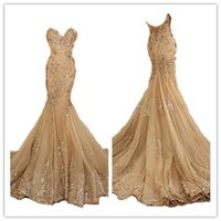 Wholesale 2017 Gold Prom Dresses Mermaid New Style Tulle Lace Appliques Prom Dress Long Evening Gowns For Teens Party