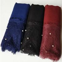 El cordón de lujo bordea las bufandas de la bufanda El nuevo diseño llano del cordón del mantón viscosa de algodón viste los bufandas Hijabs forman los granos de la bufanda Eid Los regalos FS1018