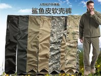 Wholesale colors High quality Tactical Men s outdoor Sharkskin Soft Shell Military Paintball fleece Lining Pants Trousers S XXXL