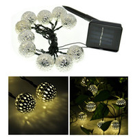 Wholesale 3 M Balls Moroccan String Lights Solar outdoor Powered LED Fairy Lights Christmas Trees Decoration Wedding Party LED strip Lamp decor