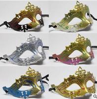 al por mayor venecia oros-Las máscaras 20pcs del partido lindo hermoso del polvo de oro de la máscara de la máscara de Venecia cara de Todos los Santos del regalo de la nave de la gota