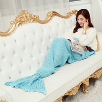 Wholesale Adults Fashion Knitted Mermaid Tail Blanket Super Soft Warmer Blankets Bed Sleeping Costume Air condition Knit Blanket Colors x95cm