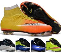 Wholesale 2016 Youth Children Soccer Cleats Kids Boys Mercurial Superfly CR7 FG Football Boots Mens High Ankle Soccer Shoes Women Girls Outdoor Cleats