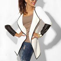 Noir cardigan tricoté Avis-2016081115 Nouvelle Collection 2016 Printemps des femmes en cuir à manches Cardigan en maille à manches longues Fashion Poncho Outwear Manteau Noir Blanc