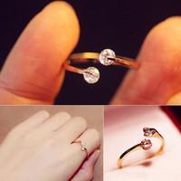 Wholesale Fashion Korean Elegant Opening Rhinestone Rose Gold Crystal Wedding Ring Gifts