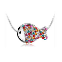 apparel accesories - Female han edition clavicle chain element crystal necklace The clown fish FuGuiYu pendant Apparel accesories colors can option B08