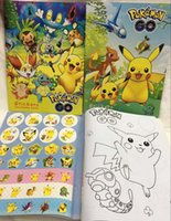 Wholesale Hot Sale Pocket Monsters Pikachu Stickers Coloring Books kid Painting Book Stationery Study Creative Stationery Set Cartoon Toy