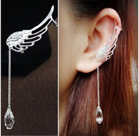 Wholesale Boho Ear Cuffs Punk Silver Plated Angel Wings Ear Bone Clips Gothic Earrings Womens Jewelry