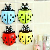 Wholesale Cute Ladybug Cartoon Sucker Toothbrush Holder Suction Hooks Household Items Toothbrush Rack Bathroom Set