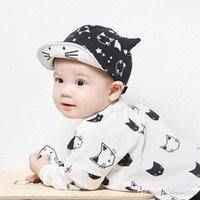 baby wild cats - 10 Korean Explosion Models Cute Black and White Cat Boys and Girls Soft Brim Cap Baby Hat Wild Child Months TRQ0219