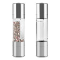 Wholesale 2 in Home Dual Salt and Pepper Grinder Set Manual Stainless Steel with Adjustable Ceramic Grinding Mechanism
