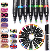 Wholesale 3D DIY Nail Art Pen Colors Nail Art Tools Polish UV Gel Painting Dot Drawing UV Gel Design D Nail Art DIY Decoration