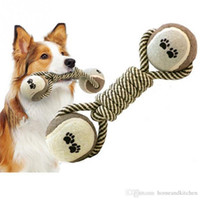 Wholesale Cotton linen strong Dumbbell Bone for Bite Dog Chew Toys Teddy Large Dogs Puppy Molar Clean Teeth Chew Toy