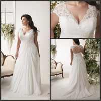 Wholesale Cheap Casual Beach Plus Size Wedding Dresses With Train Color A Line Chiffon Lace_UP Wedding Gwons