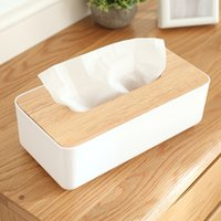 Wholesale price Modern Concise Style High grade Tissue Box Creative Napkin Box Sitting Room Wooden Lid Tissue Boxes for Car