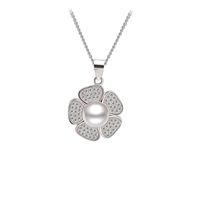 Bijoux floraux, pendentif en argent sterling massif avec perle d'eau douce, meilleurs bijoux cadeaux pour gros mère - PS03879