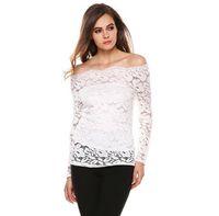 Wholesale 2016 womens clothing off shoulder blouse lace A line hollow out long sleeve shirt women tops blouses colors women shirts