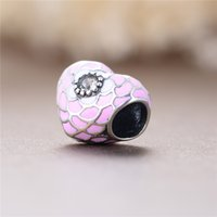 Wholesale Pink Enamel Haert Shape Charms With White Crystal Flower Beads Sterling Silver For European Bracelets Women Fashion Gifts D105B