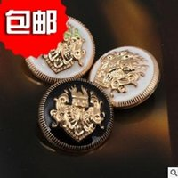 Wholesale Pure metal zinc alloy small golden edge double lion crown design coat accessories decorative buttons