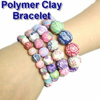 Wholesale Kids Printed Beaded Bracelet mm Polymer Clay Bracelet For School Children