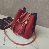 Wholesale 2016 Autumn New Fashion Two Sets PU Women Handbag Bucket Bag Shoulder Crossbody Composite Bags for Ladies Messenger Bag Wallet Litchi Grain