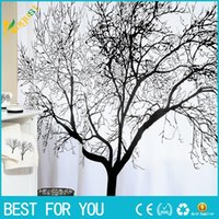 Wholesale Hot fashion New Big Black Scenery Tree Design Bathroom Waterproof Fabric Shower Curtain