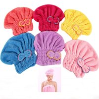 Wholesale Fashion Texitile Useful Dry Microfiber Turban Quick Hair Hats Wrapp Towels Bathing Shower Caps Bathroom Plush Coral Double Bow Hats HB H01