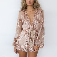 Wholesale Sparkly Sequined Long Sleeves Short Jumpsuit Women s Sexy Plunging V Neck Lace Trim Jumpsuit