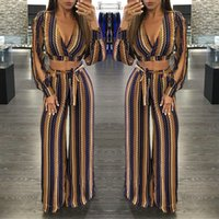 Wholesale 2016 New Arrival Sexy Set Jumpsuit Women Romper Deep V neck Tops Bell Bottoms Casual Dress Clubwear Bodycon Bandage Jumpsuit
