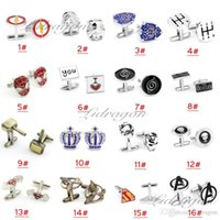 Wholesale Free DHL Fashion Cufflink Superman Star Wars Batman spiderman Cufflinks Fathers Day Gifts For Mens Jewelry Cuff Links M197
