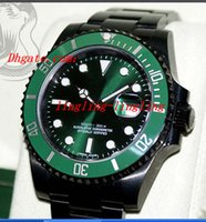 Wholesale Luxury Brand NEW Men s Watch KingsLife Black Sub Green Anniversary Ceramic LV in DLC PVD mm Man Wristwatch