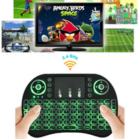 al por mayor mini touchpad-Rii I8 mosca del aire del ratón mini teclado inalámbrico inalámbrico retroiluminación 2.4GHz Touchpad control remoto para X96 S905X S912 TV BOX Mini PC