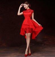 Trumpet/Mermaid cheongsam - elegant women cheongsam lace gallus wraps pure color slim long bride cheongsam short party dress