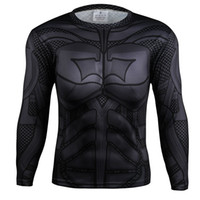 batman tee shirt - MEW Men bodys armour marvel captain america superman batman punisher compression t shirt men thermal under tees fitness tights