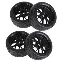 Wholesale Black RC Flat Racing Car Y Shape Hub Wheel Rim Rubber Tires On Road