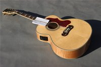 chinese acoustic guitars - Solid spruce acoustic guitar J200 inch Tiger veneer acoustic electric guitar Chinese guitar in stock guitars