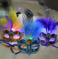 adult butterfly costumes - Women Girls Party Fancy Ball Light Up LED Fiber Feather Mask Butterfly Masquerade Fancy Costume Party Decorations Hallowmas Props Mask