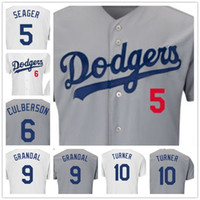 bamboo turner - 6Charlie Culberson Corey Seager10Justin Turner Grandalany players Flexbase Blue white Baseball jerseys size