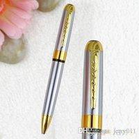Precio de Bolígrafo de giro-Jinhao 250 Plata del premio de barril de oro clip de tapizado de la torcedura del bolígrafo 1OZW