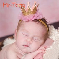 Wholesale 1 Elastic Kid Girl Sparkly Crown Headwear Toddler Fashion Turban Hairband Headband Infant Children Lace Head Wrap Photo Tool