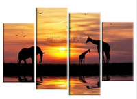 african wildlife - abstract modern muti panel canvas wall African wildlife sunset oil painting on canvas for living room office decoration