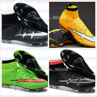 Wholesale New Arrivals color Mercurial Superfly carbon fiber soccer Cleats soccer boots ACC Soccer Shoes Football Boots inbox